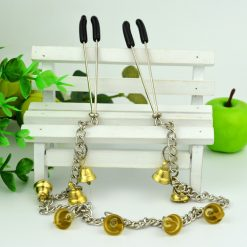 Metal Nipple Clamps with Bell Charms and joining Chain
