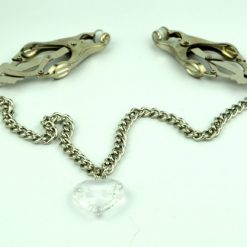 Metal Nipple Clamps with joining Chain and Heart Charms