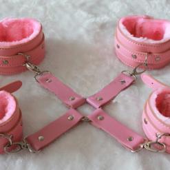 Pink leather restraint kit