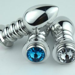 Ribbed Metal Butt Plug available in various colours