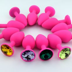 Silicone butt plug with jewel end - SMALL