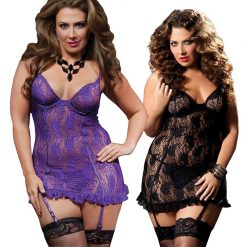 Sexy Purple Chemise with knickers and Suspenders