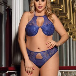 Blue Lacey Set With Padded Bra - Available in S-M, XL, 3XL and 4XL.