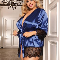 Silk Satin Lace Sexy Women Kimono Home Pajamas - Available in M, XL, 3XL, 5XL - Red Black, and Blue