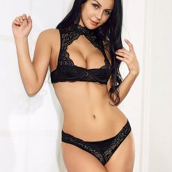 Black High Neck Lace Bra Set