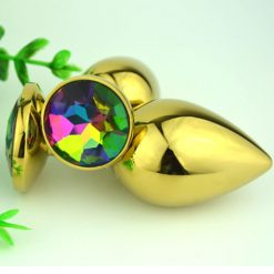 Gorgeous metal butt plug with Jewel end - GOLD